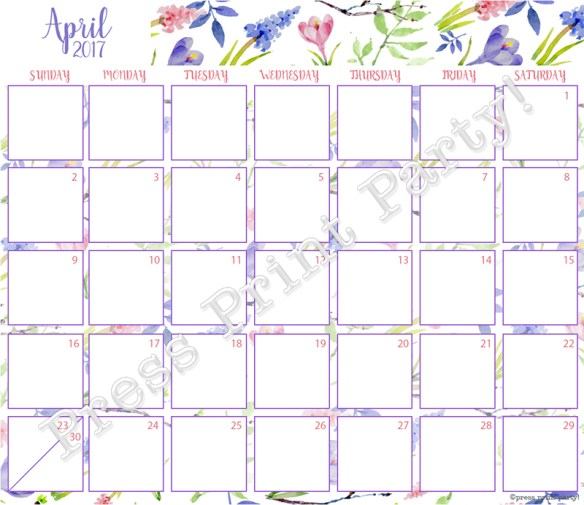 2017 Calendar Printable for Bullet Journals - Vibrant Watercolors - By Press Print Party! April 2017