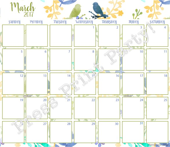 2017 Calendar Printable for Bullet Journals - Vibrant Watercolors - By Press Print Party! March 2017