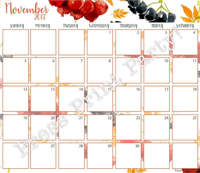 2017 Calendar Printable for Bullet Journals - Vibrant Watercolors - By ...