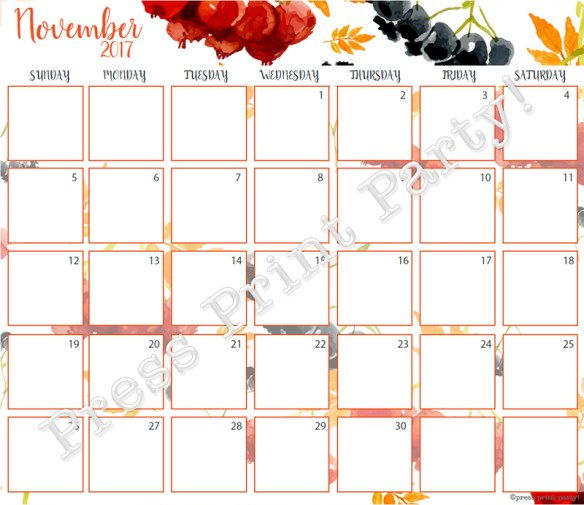 2017 Calendar Printable for Bullet Journals - Vibrant Watercolors - By Press Print Party! December 2017