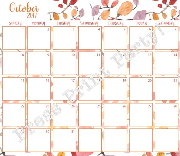 2017 Calendar Printable for Bullet Journals - Vibrant Watercolors - By Press Print Party! Octover 2017