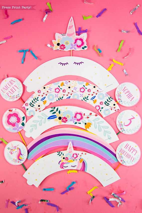 Unicorn Party Cupcake Toppers Amp Wrappers Press Print Party
