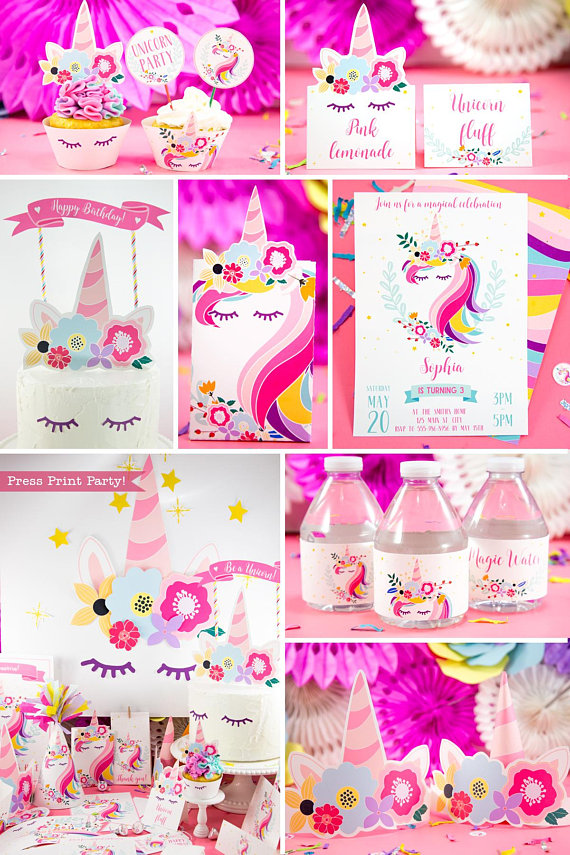 unicorn birthday party printable set