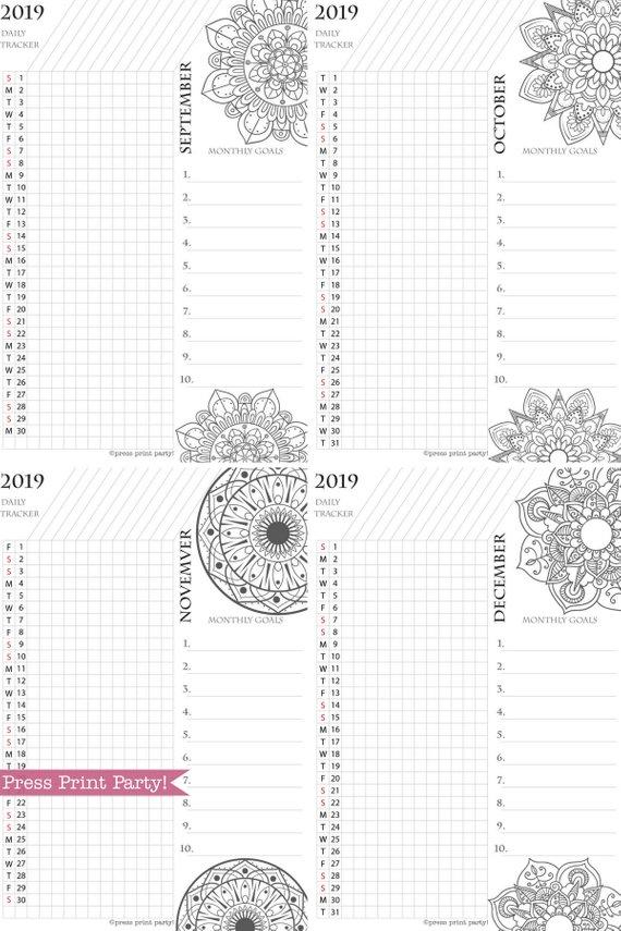 2019 Habit Tracker Printable, Mandala Coloring Design