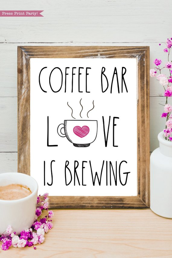"""Download Coffee Station Sign """"Love is Brewing"""" Printable, Pink ..."""