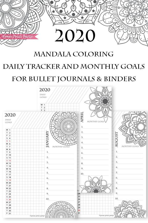 2020 Daily Routine Printables, Monthly Habit Tracker