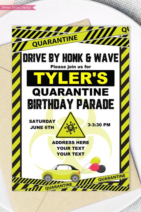 quarantine birthday invitation lime green drive by birthday parade