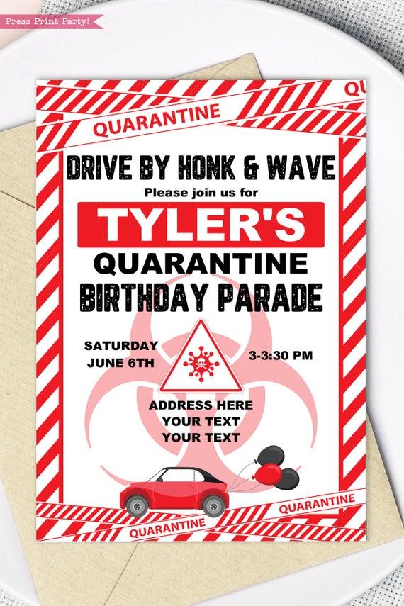 quarantine birthday invitation red drive by birthday parade