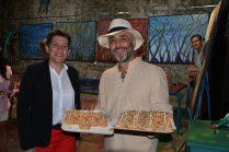 Christelle Marchal, maire de Malleval et Shahram Nabati, artiste peintre à la Galerie d'Art Emma