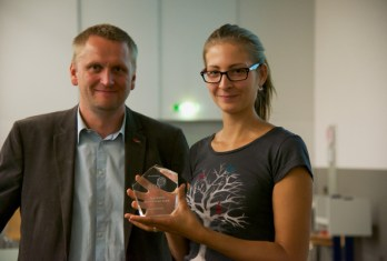 BCI Conference 2014 Graz: Gernot Müller-Putz with Best Poster Award Winner, Helena Erlbeck