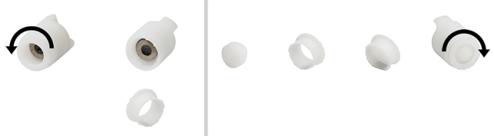 Hydrogel Headset: Opening the holding mechanism (left), loading the hydrogel tip and fixing back the holding mechanism (right)