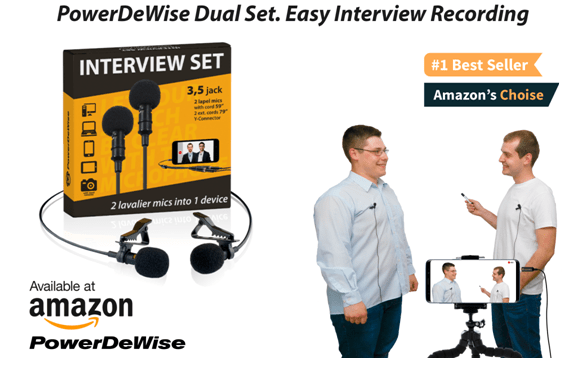 PowerDeWise Dual Mics INTERVIEW SET offers Extremely Easy Interview Recording 1