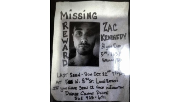 A missing persons flyer for Zach Kennedy, 32, who was last seen in October 2017 in Long Beach. (Jeremiah Dobruck/Press-Telegram-SCNG)