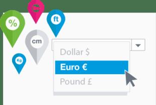 Seleziona valute, tasse e unità di misura locali