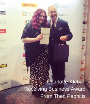Charlotte-Kleban-Recieving-Business-Award-From-Theo-Paphitis Business Coaching And Business Advice