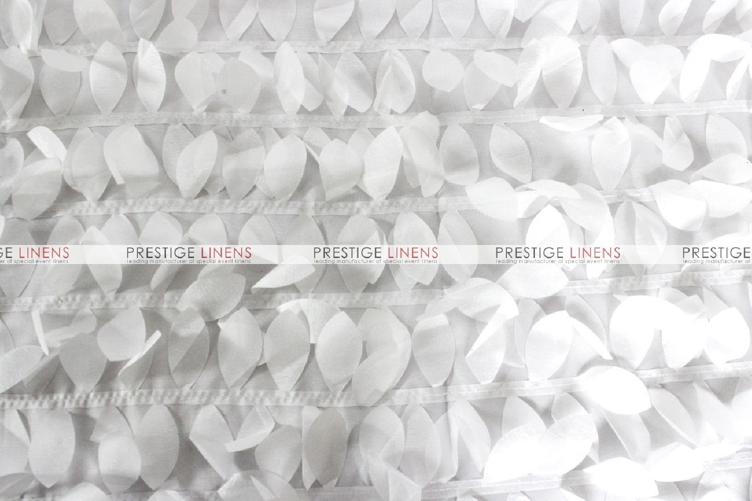 Leaf Petal Taffeta Table Runner  White  Prestige Linens