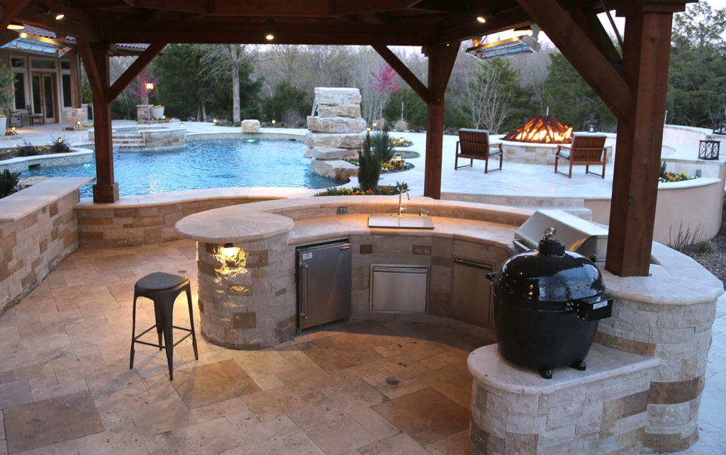outdoor kitchen miele appliances frisco tx prestige pool and patio entertaining space in north dallas