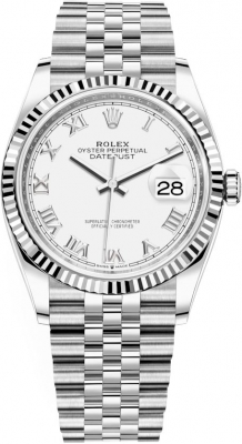 126234 White Roman Jubilee Rolex Datejust 36mm Stainless