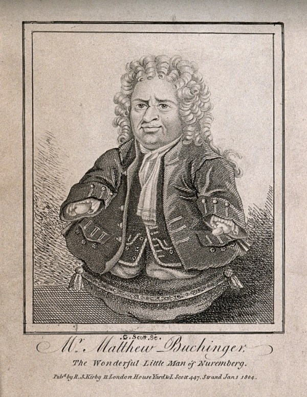 V0007016ER Matthias Buchinger, a phocomelic. Etching by G. Scott, 1804.
