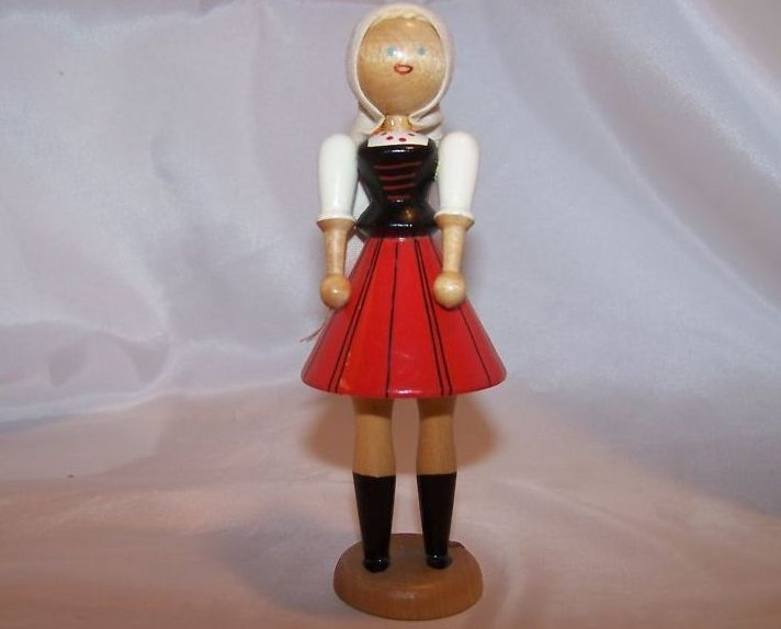 Wooden Wood Girl Doll w Head Scarf on Stand