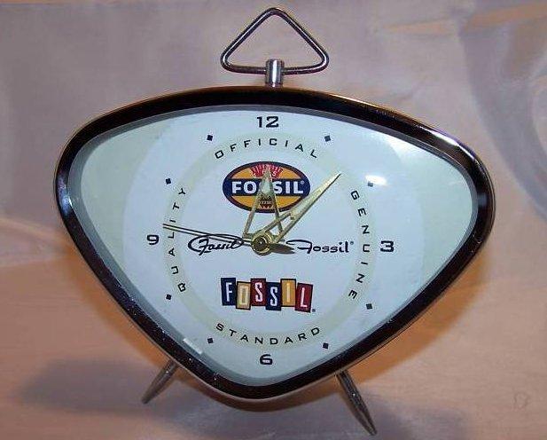Retro Fossil Key Wound Red Alarm Clock