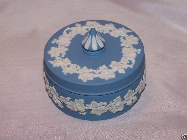 Wedgwood Blue and White Jasperware Covered Dish
