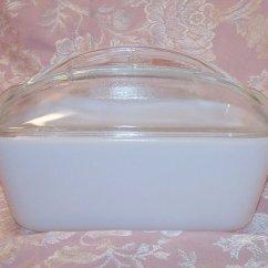 Kitchen Storage Cart Metal Milk Glass Refrigerator Dish, Loaf Pan W Lid