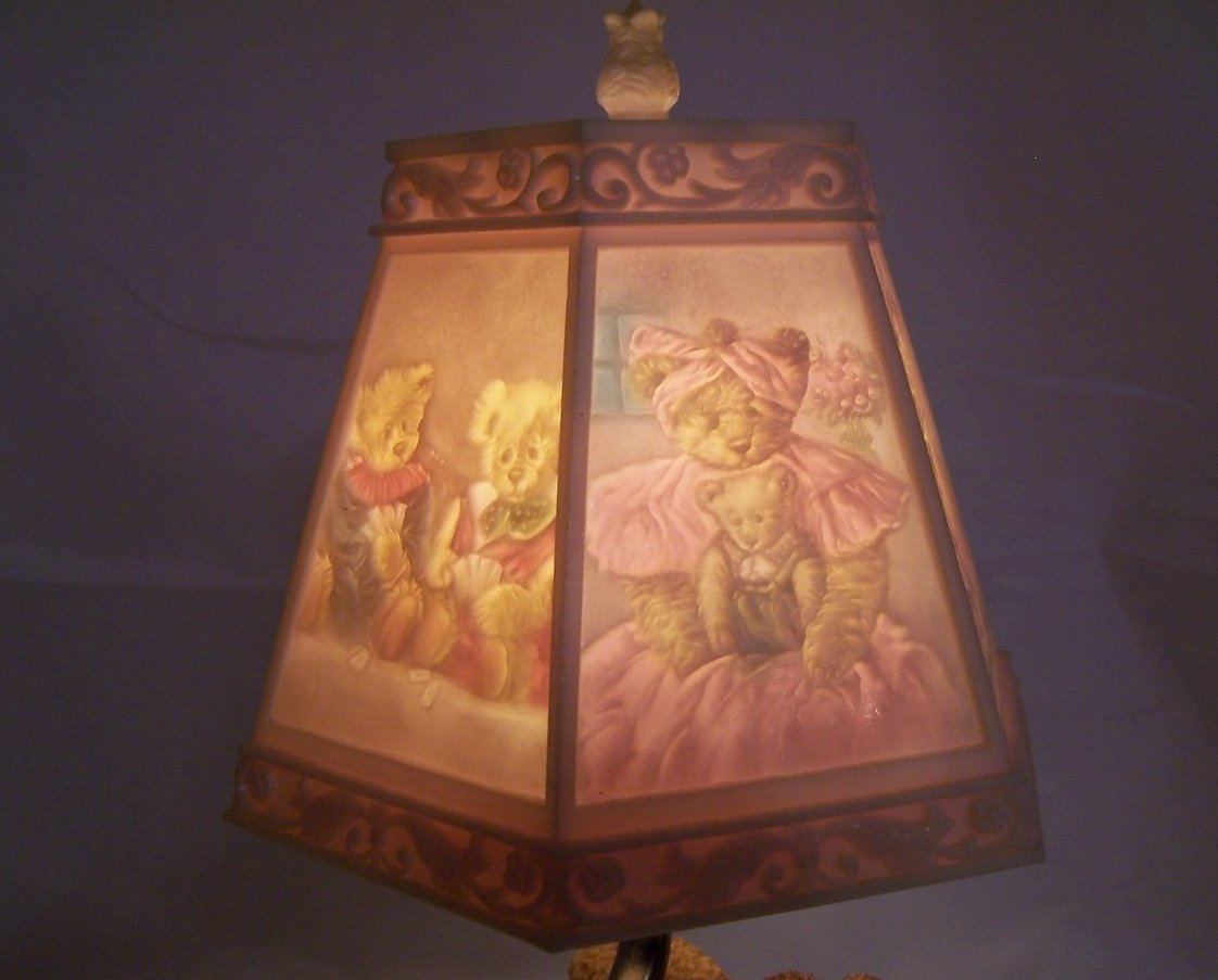 Teddy Bear Lamp w Bear Scene Shade Nursery or Desk