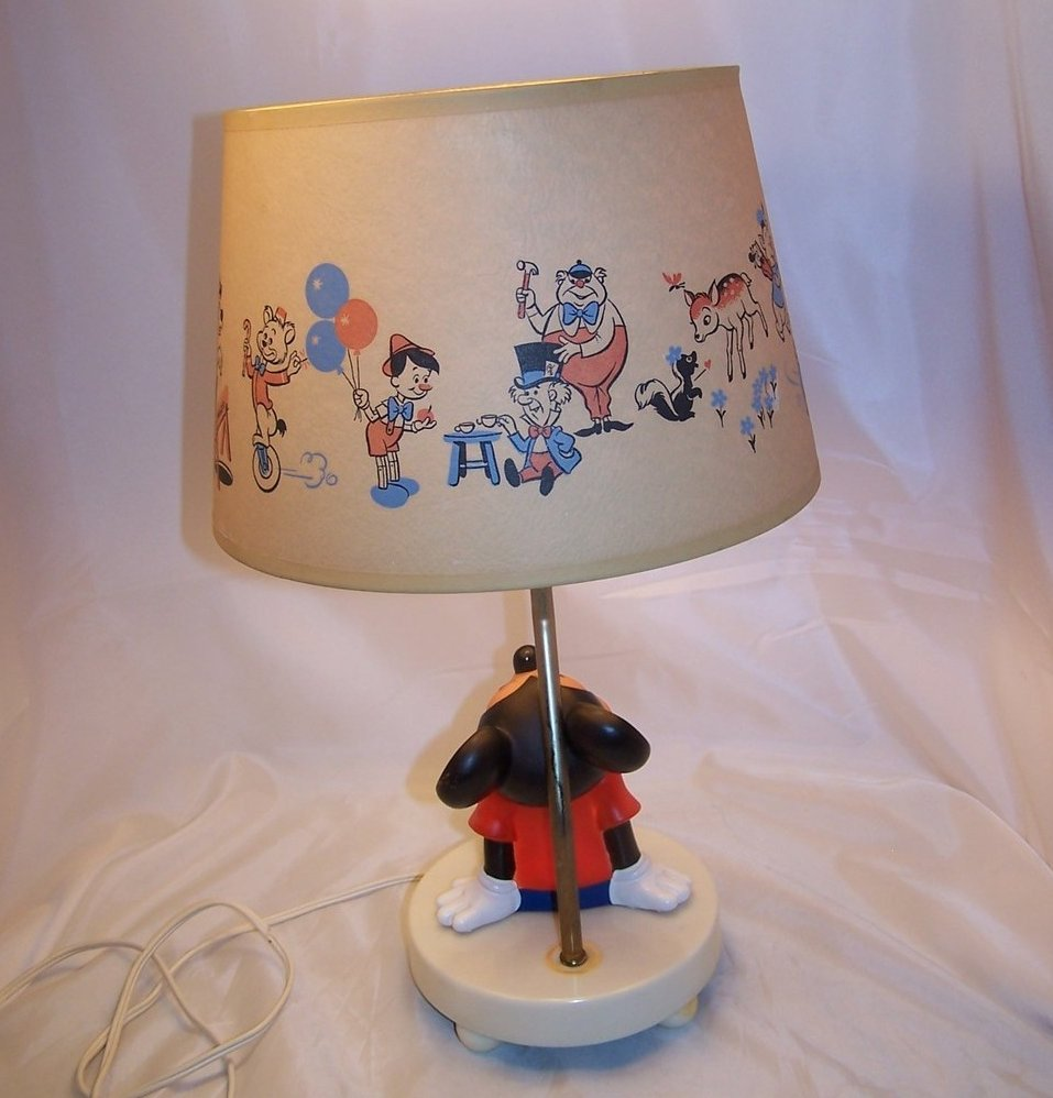 Mickey Mouse Nursery Lamp w Orig Shade Nightlight Vintage