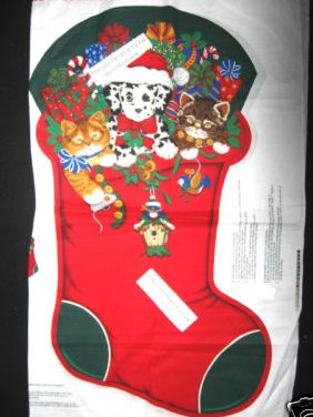 Kitty cat puppy Dalmatian Christmas Stocking Large Fabric