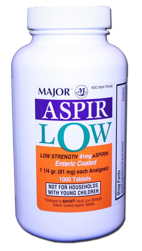 Aspir-Low Enteric Coated Aspirin 81 mg Tab 1000 By Major ...