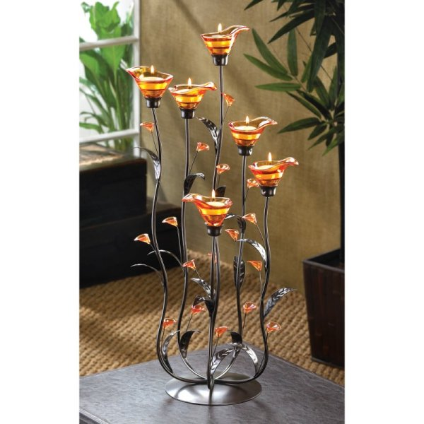 2 Ft. High Amber Calla Lily Candelabra Candle Holder