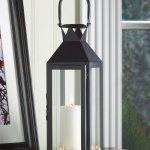 Black Contemporary Manhattan Pillar Candle Lantern Use Indoor Or Outdoor