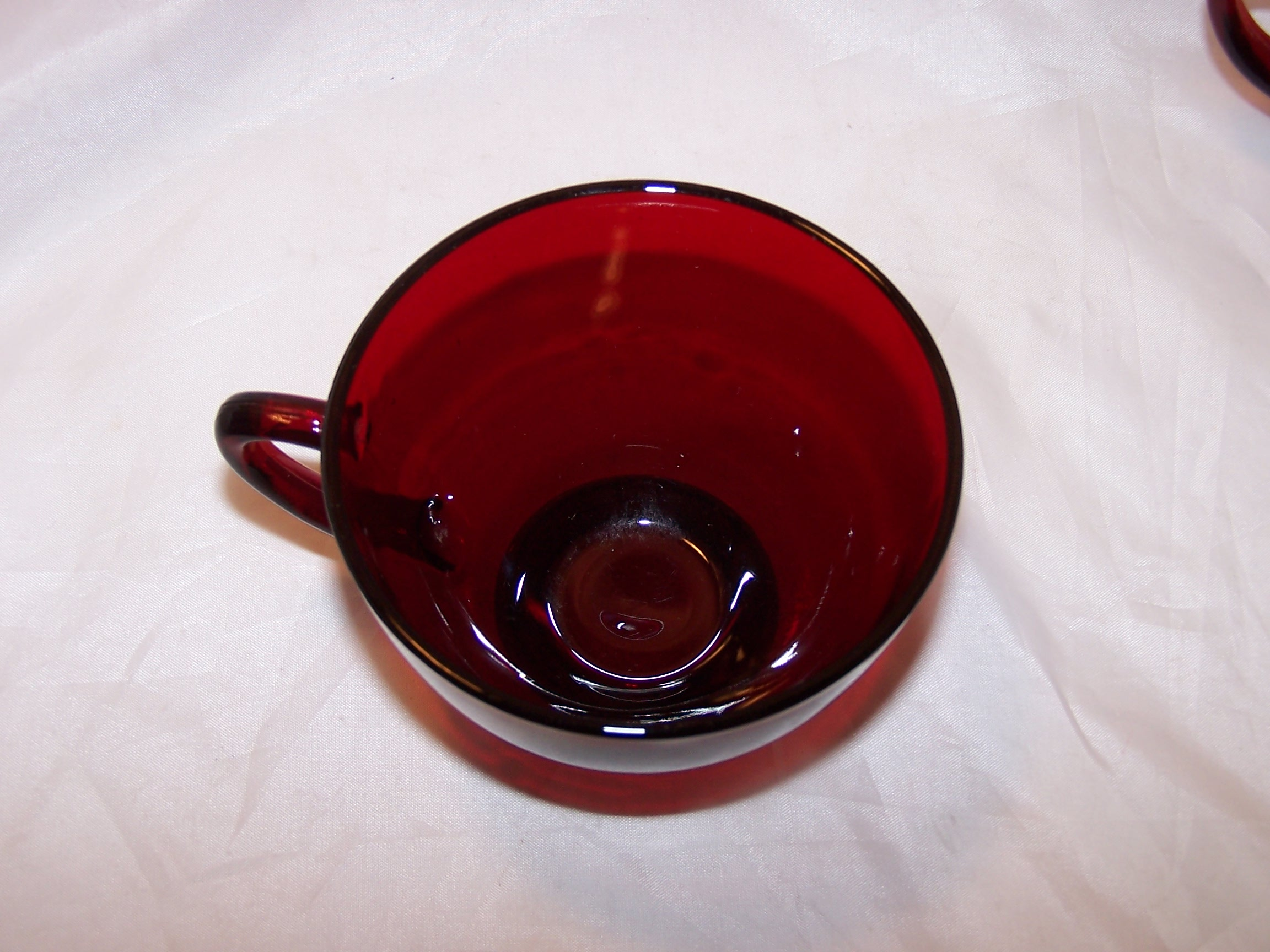 kitchen handles aid hand blender ruby red depression glass plates, cups, sugar bowl