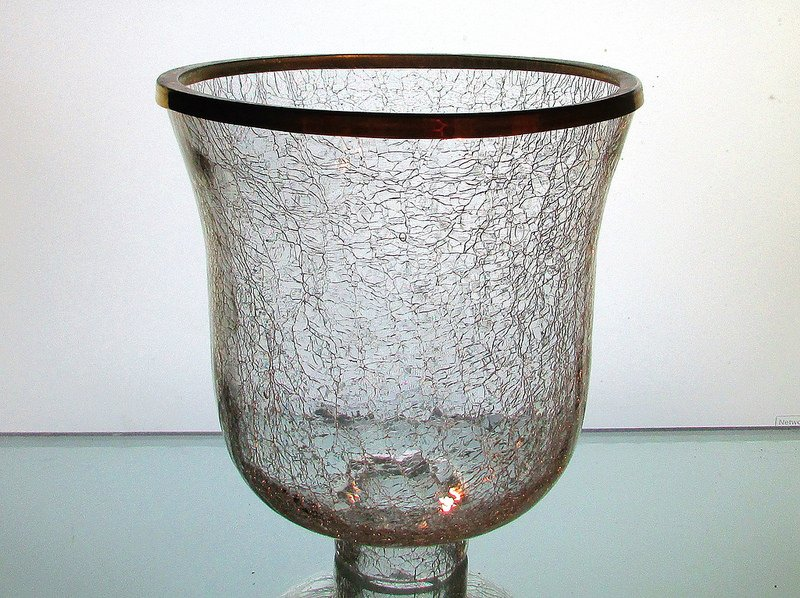 Crackle Glass Hurricane Shade XL 2.25 inch fitter x 7.25 w