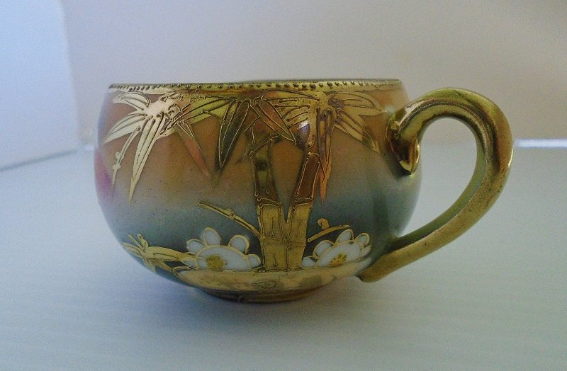 Antique Demitasse or Tea Cup Saucer Mountain Scene Japan