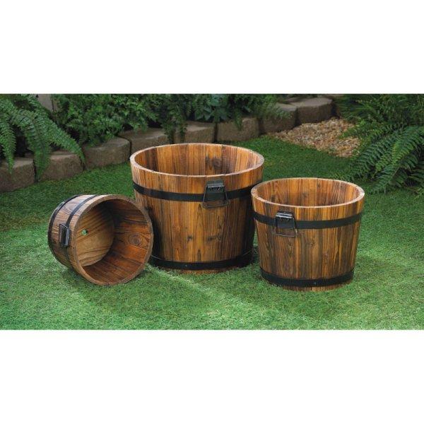 Wood Barrels Planters Flowers