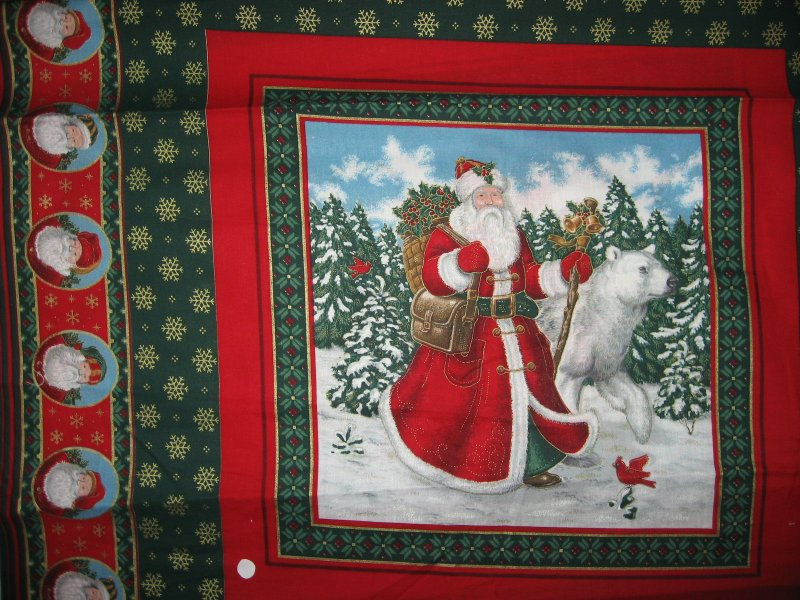 Old world Christmas Santa and Reindeer and bear 2 Fabric