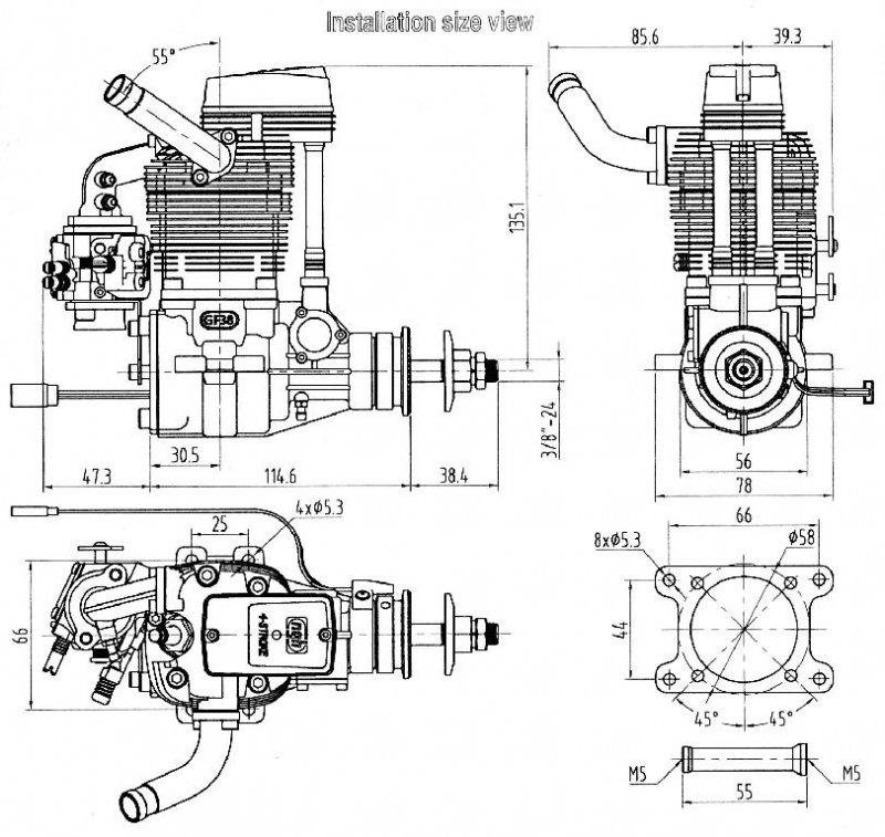 NGH GF38cc 4-stroke gas engine