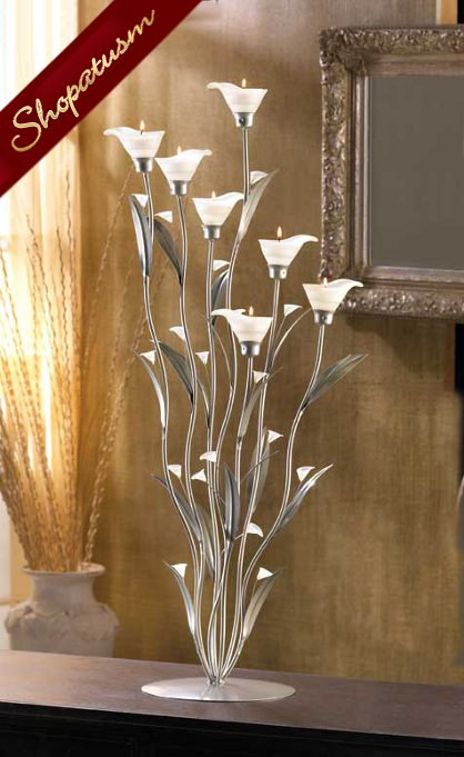 12 Large Floral Wedding Centerpiece Silver Calla Lily