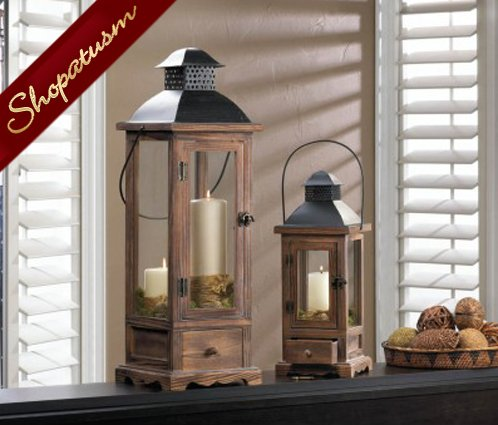 Rustic Pine Wood Centerpiece Large Wood Candle Lantern