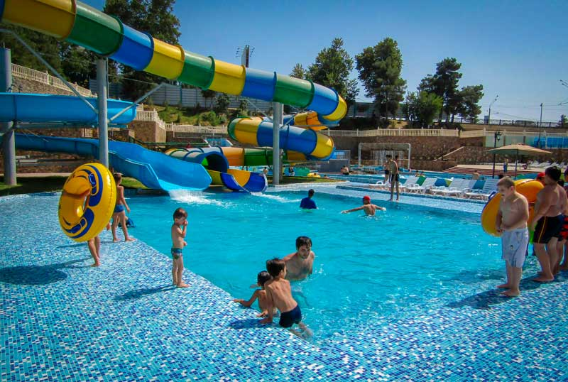Water park - pool with multiple slide