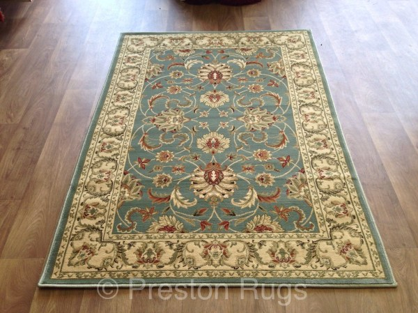 Blue and Green Traditional Rug