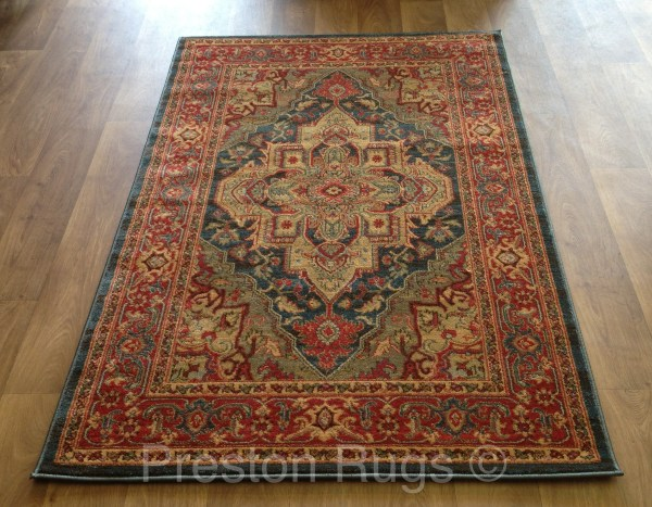 Red Blue and Gold Persian Rug