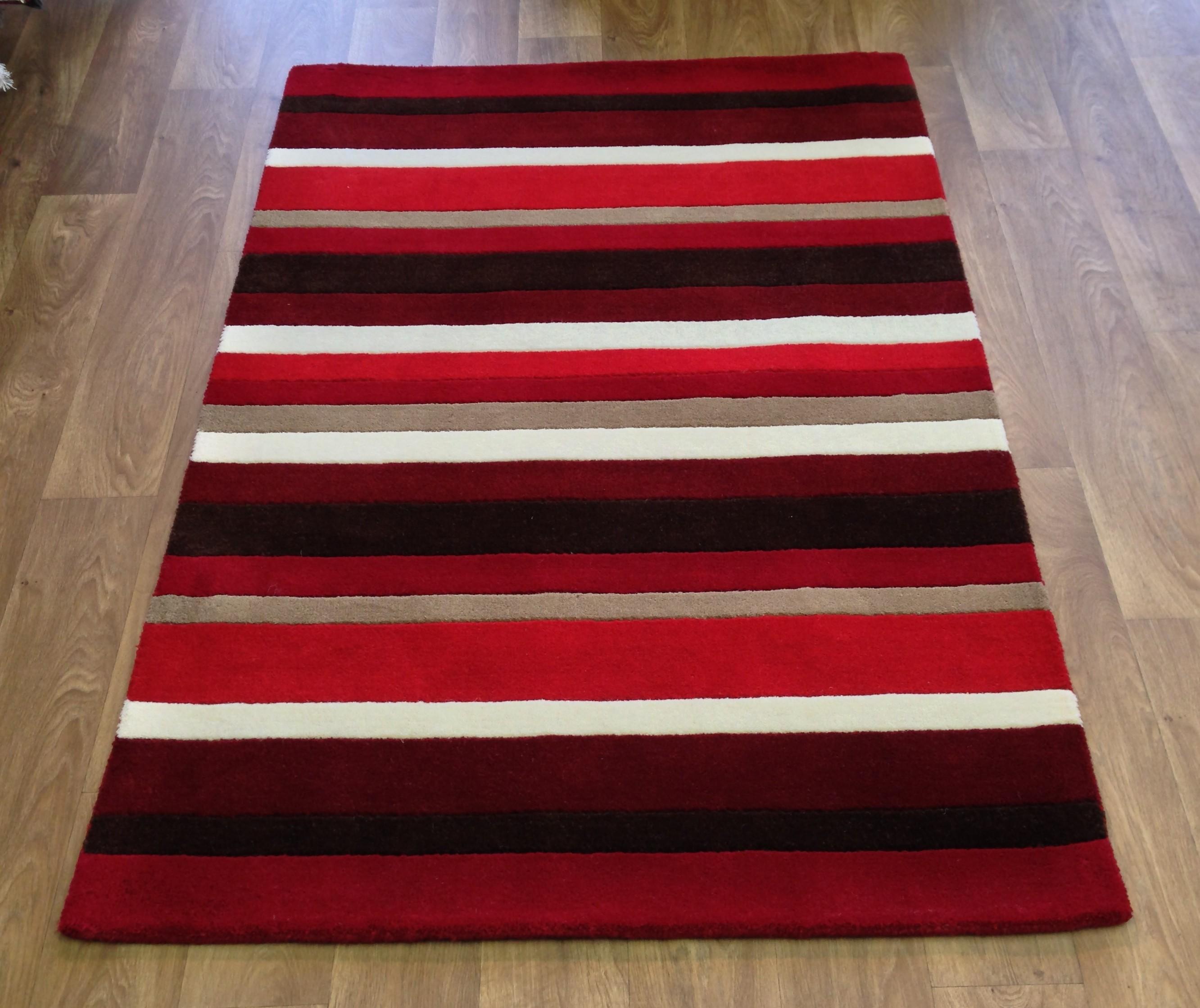 striped kitchen rug knotty pine cabinets for sale modern wool red brown beige cream small medium