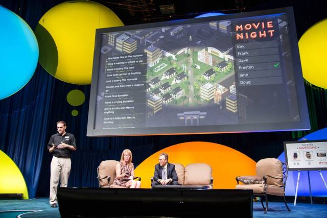 """Preston Smalley demoing """"Movie Night"""" at Industry Conference"""