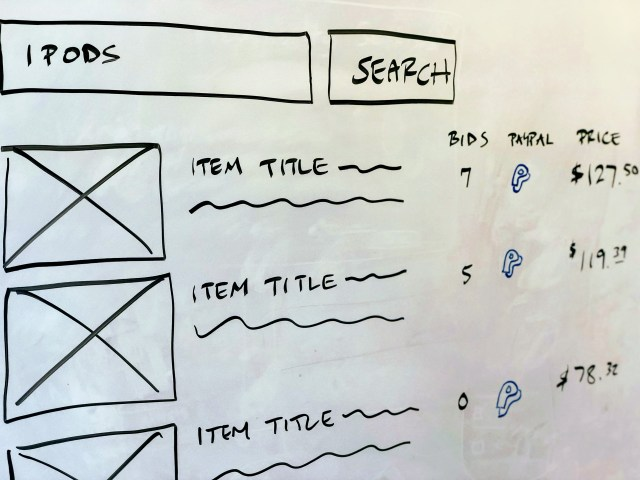 drawing of eBay search results on a whiteboard illustrating a PayPal logo listed next to every item for sale.