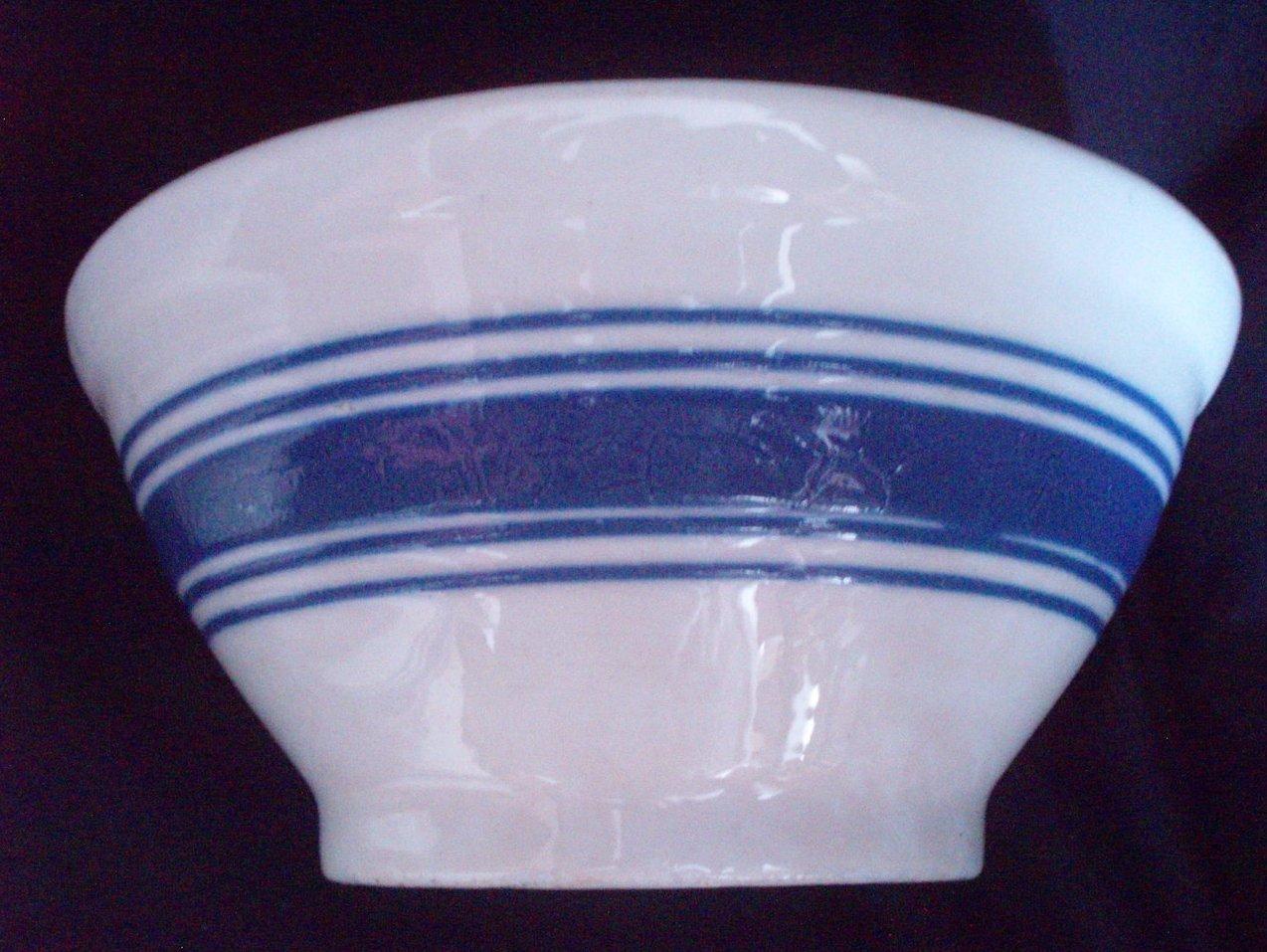kitchen pottery canisters valances for windows vintage glazed mixing bowl set royal blue banding