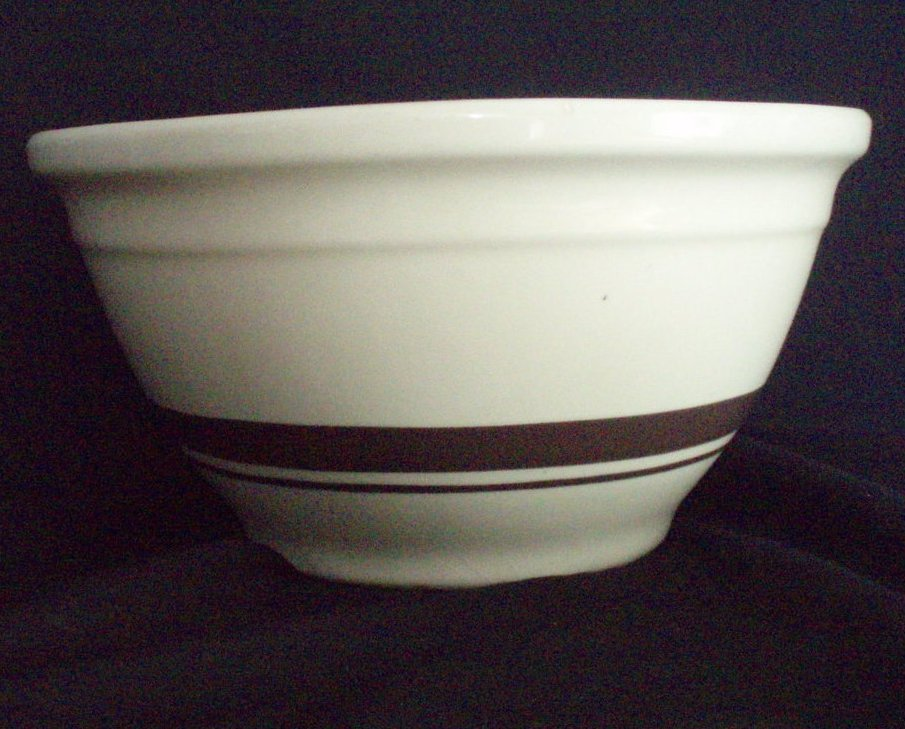 ceramic kitchen canisters black islands mccoy mixing bowl vintage 10 inch brown bands