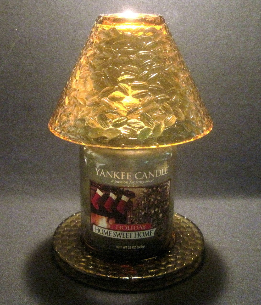 Amber Teardrop Candle Shade And Plate Set By Yankee Candle OOS